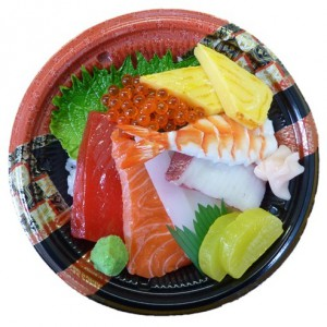 Bento Lunchbox japanese food 3. RICE BOWL WITH RAW FISH (from Wednesday) 8€ KENCHAN HARUCHAN SOWATRADING